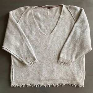 gray fringe free people sweater